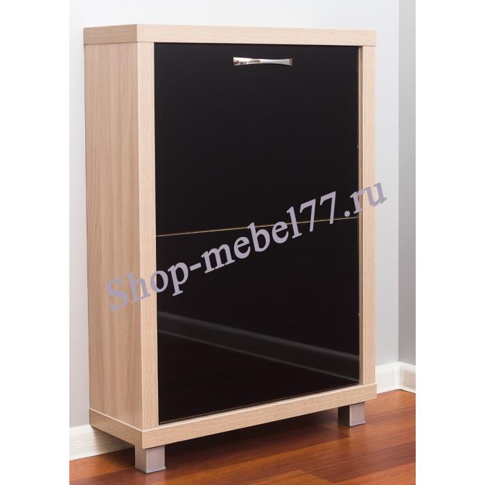 Шкаф обувной Люкс черное стекло - 2 секции