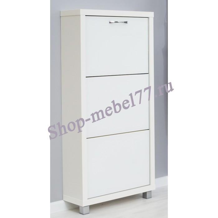 Шкаф обувной Люкс белое стекло - 3 секции