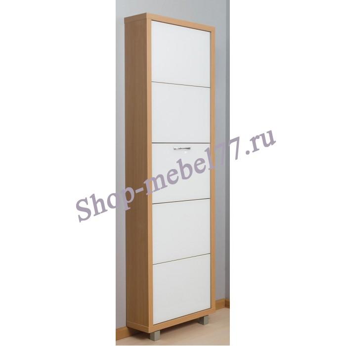 Шкаф обувной Люкс белое стекло - 5 секций
